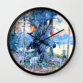 Deer at Lake McDonald - Charles Marion Russell Wall Clock