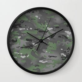 Camouflage: Arctic Green and Grey Wall Clock
