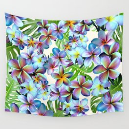 Rainbow Plumeria Pattern Wall Tapestry