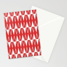Mid Century Modern Diamond Pattern Red 234 Stationery Cards