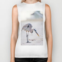 Blue Heron on the Beach Biker Tank