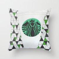 starbucks Throw Pillows featuring Starbucks Mermaid  by Clawson Creatives