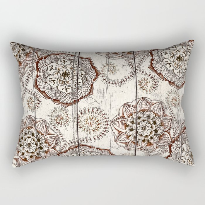 Coffee & Cocoa - brown & cream floral doodles on wood Rectangular Pillow