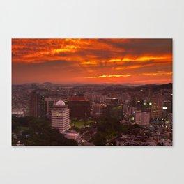 Fiery Seoul sunset Canvas Print
