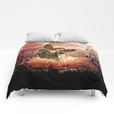 Cute little fairy in the night Comforters