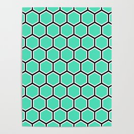 Menthol green, black and white honeycomb pattern Poster