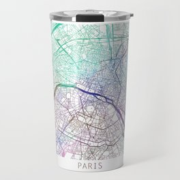Paris City Map Watercolor Blue by zouzounioart Travel Mug