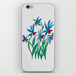 Hand painted watercolor floral blue and red flowers iPhone Skin