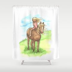 Horse Girl - Artwork that re-visits your favorite childhood memories Shower Curtain