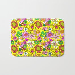 60's Lovers Floral in Sunshine Yellow Bath Mat