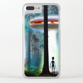 UFO ALIEN FOREST Clear iPhone Case