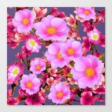 PURPLE ACCENTS PINK  GARDEN  FRUIT TREES FLOWERS Canvas Print