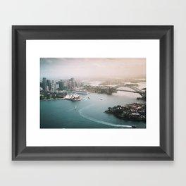 Sydney Opera House Harbour Bridge | Australia Aerial Travel Photography Framed Art Print