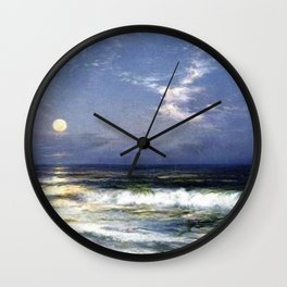 Moonlit Beach Seascape No. 1 landscape painting by Thomas Moran Wall Clock