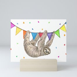 Sloth with Bunting #1 Mini Art Print