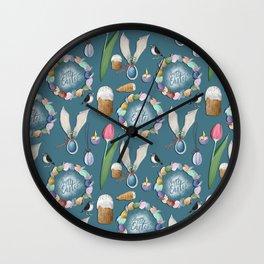 HAppy Easter pattern. Wall Clock
