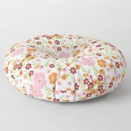 Pretty Retro Floral Floor Pillow