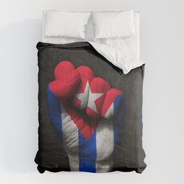 Cuban Flag on a Raised Clenched Fist Comforters