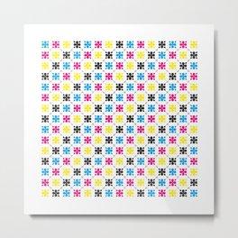 CMYK Colour Flower Pattern Metal Print