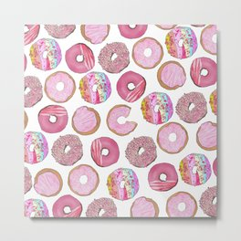 Cute Pink Sprinkle Confetti Watercolor Donuts Metal Print