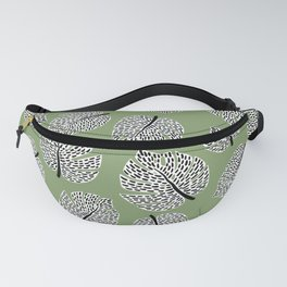 Abstract Monstera Leaf Pattern green Fanny Pack