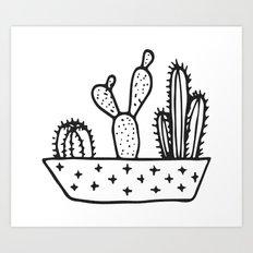 Cactus House Garden Black and White Art Print