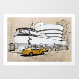 Guggenheim New York, umbrellas and yellow cabs. Sketch Art Print