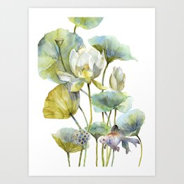 Lotus Plant and Fish Zen Design Watercolor Muted Pallet Botanical Art Art Print