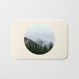 Pine Trees & Snow Mountains Circle Photo Bath Mat