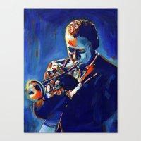 miles davis Canvas Prints featuring Miles by Vel Verrept