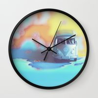 vw bus Wall Clocks featuring Silver VW Bus by Anna Dykema Photography