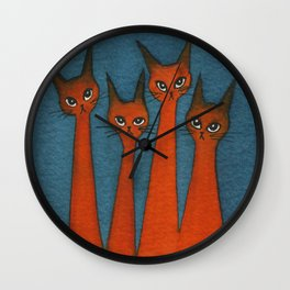Candy Corn Whimsical Cats Wall Clock