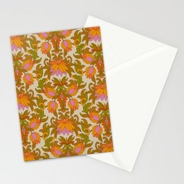 Orange, Pink Flowers and Green Leaves 1960s Retro Vintage Pattern Stationery Cards