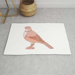 Rufous Bellied Thrush Bird Illustration Rug