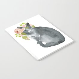 cat with flower crown Notebook