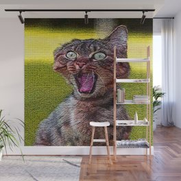 funny cat shocked Wall Mural