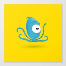 Octopus Blue/Yellow Canvas Print