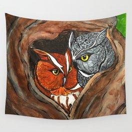Cuddling Screech Owls Wall Tapestry