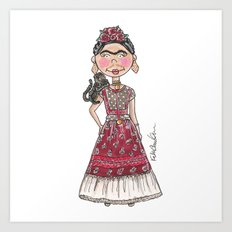 Little Frida Kahlo Art Print