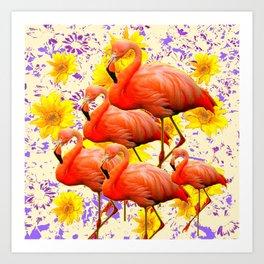 MODERN CREAM-YELLOW ART FLAMINGO  FLORAL PURPLE  ABSTRAC Art Print