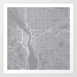 Portland Map, Oregon USA - Pewter Art Print