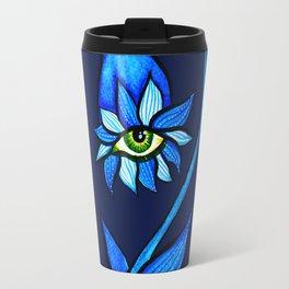 Blue Creepy Eye Flower Travel Mug