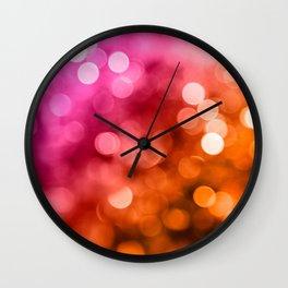 Pink Orange Bokeh Lights Wall Clock