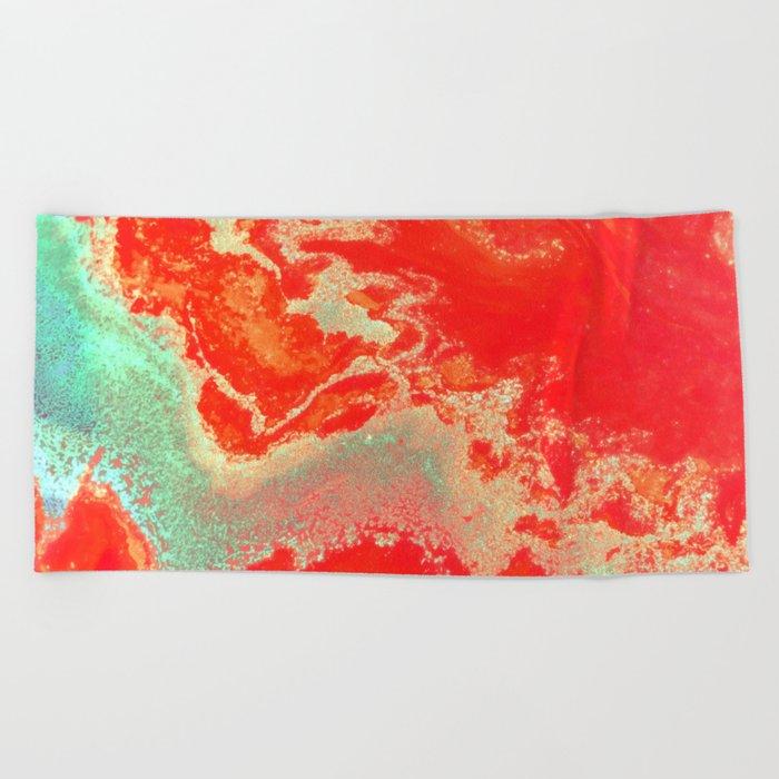 Sea Green + Coral #society6 #decor #buyart Beach Towel
