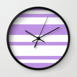 Mixed Horizontal Stripes - White and Light Violet Wall Clock