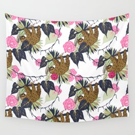 Sloth - Navy, Pink, Pistachio Wall Tapestry