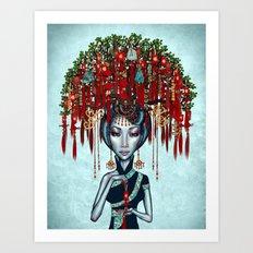 Shanghai Wish Tree Girl Art Print