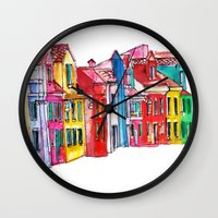 italy Wall Clocks featuring Italy by Dheiuk