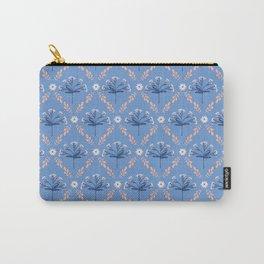 Blue Peach Floral Lattice Carry-All Pouch