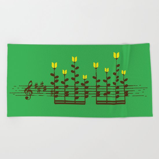 Music notes garden Beach Towel